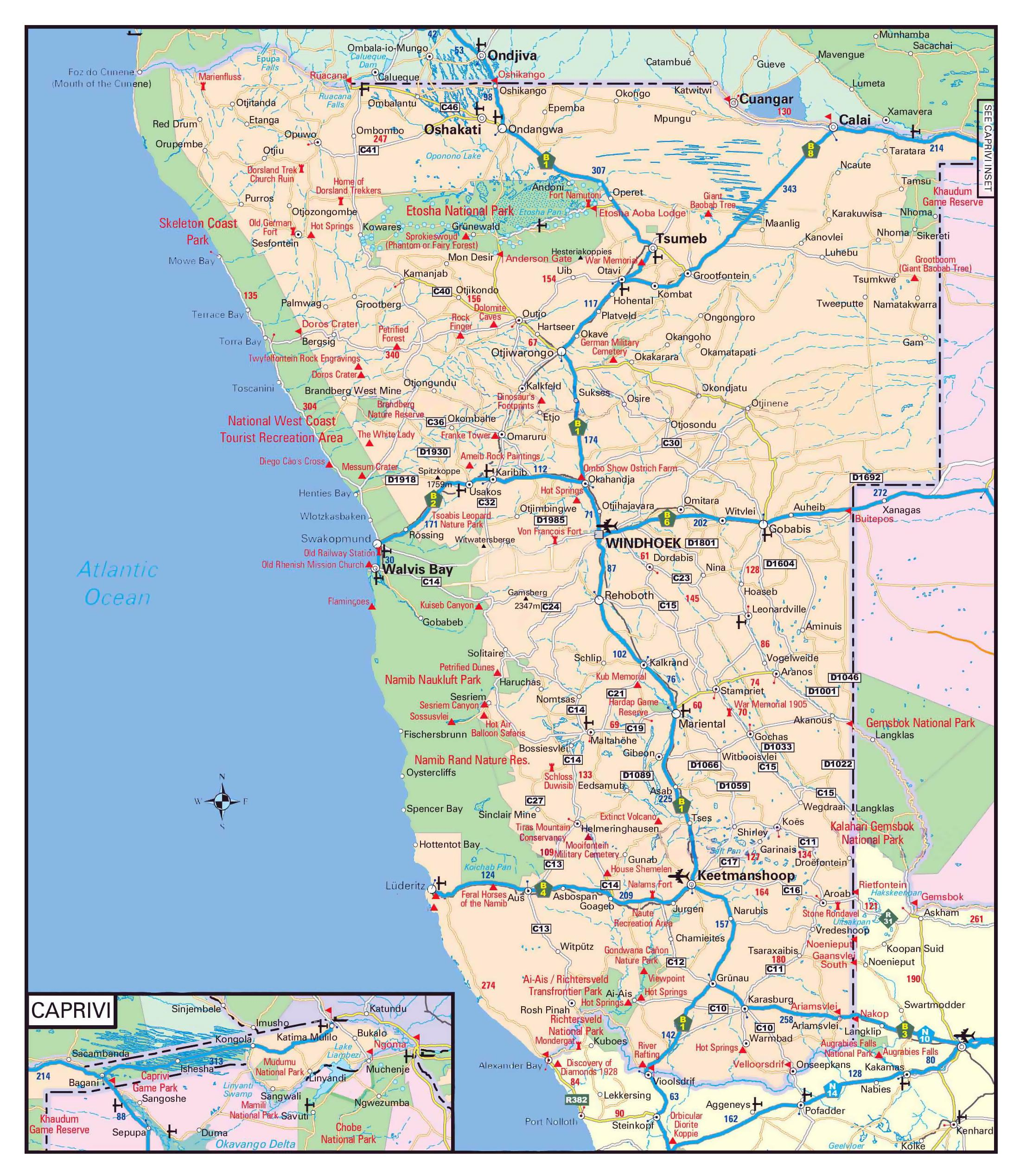 Namibia road map   Namibia roads map (Southern Africa   Africa)