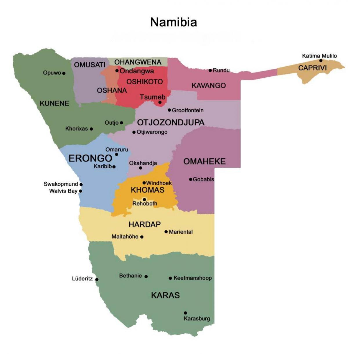 Map of Namibia with regions
