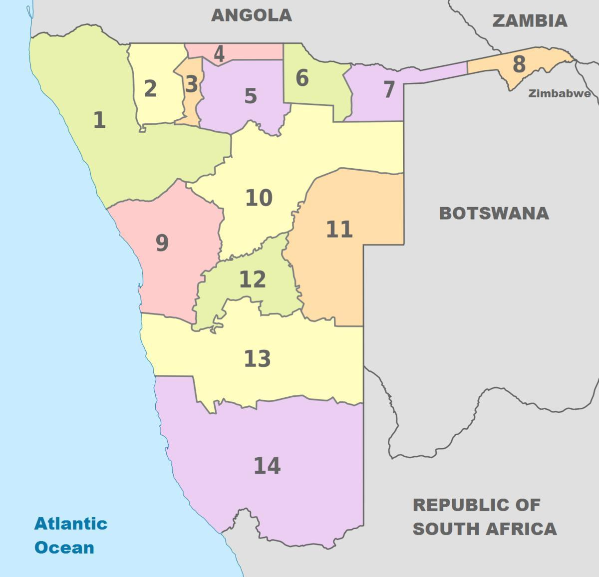 political map of Namibia
