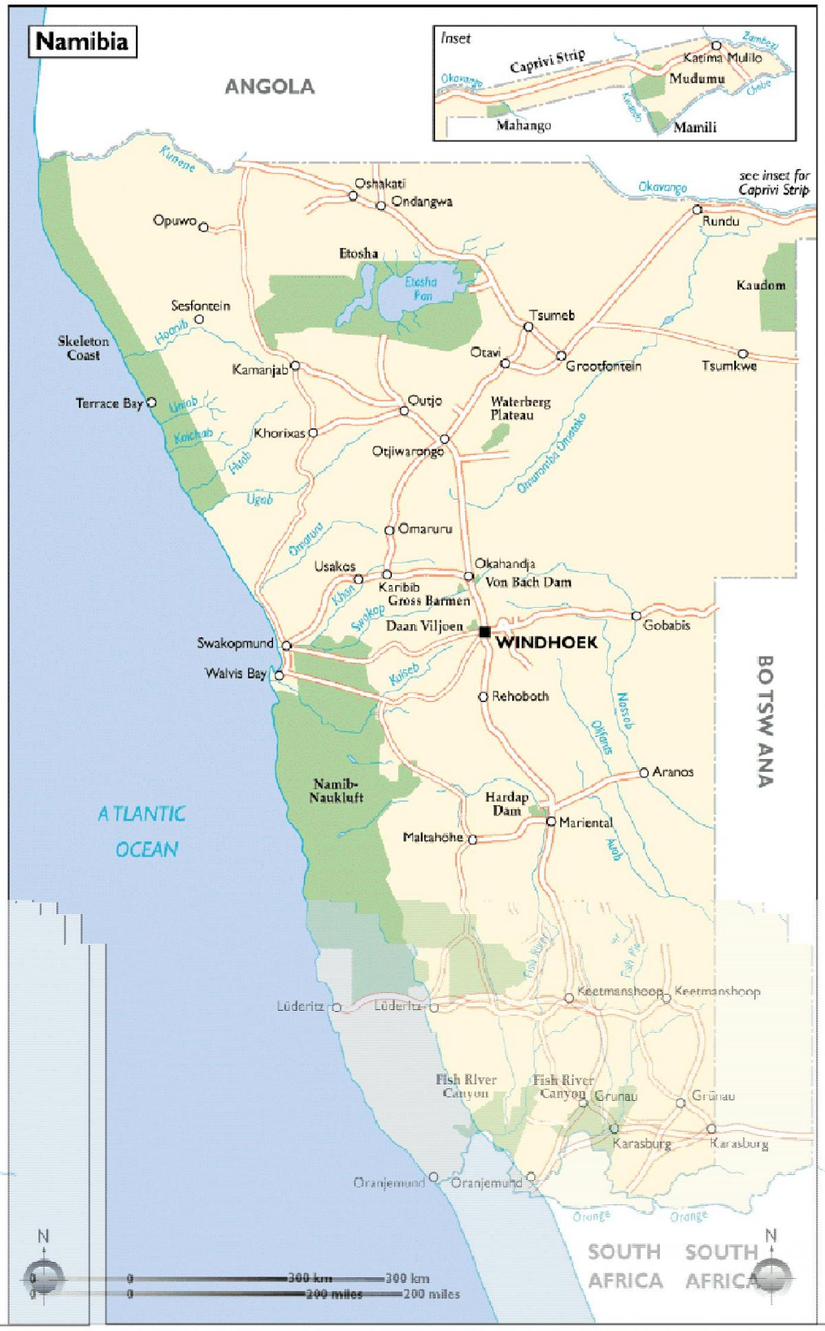 Namibia attractions map