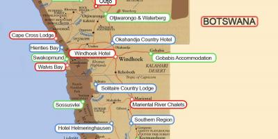 Camping sites Namibia map